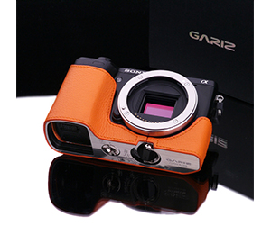 Gariz Genuine Leather XS-CHNEX7OR Camera Half Case for SONY NEX-7 Orange